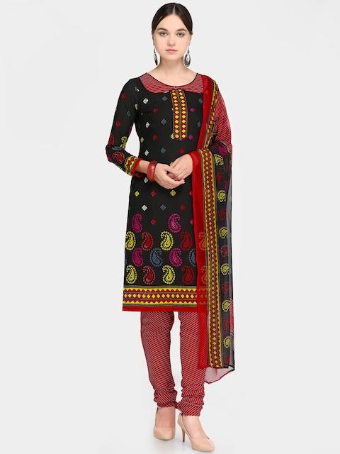 Satrani Black & Red Unstitched Dress Material