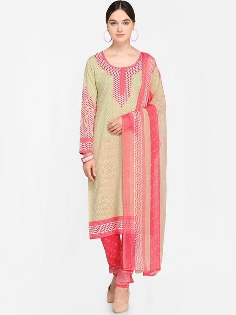 Satrani Beige & Pink Unstitched Dress Material