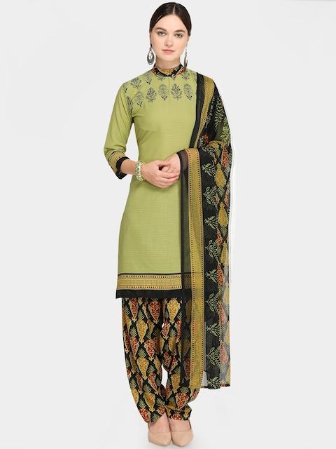 Satrani Green & Black Unstitched Dress Material