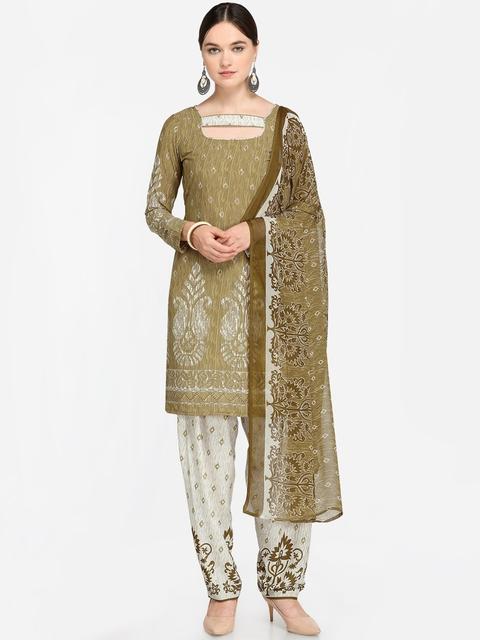 Satrani Beige & White Unstitched Dress Material