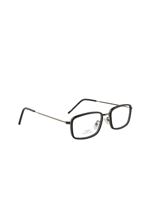 Clark N Palmer Unisex Grey & Black Solid Full Rim Rectangle Frames CNP-H0050