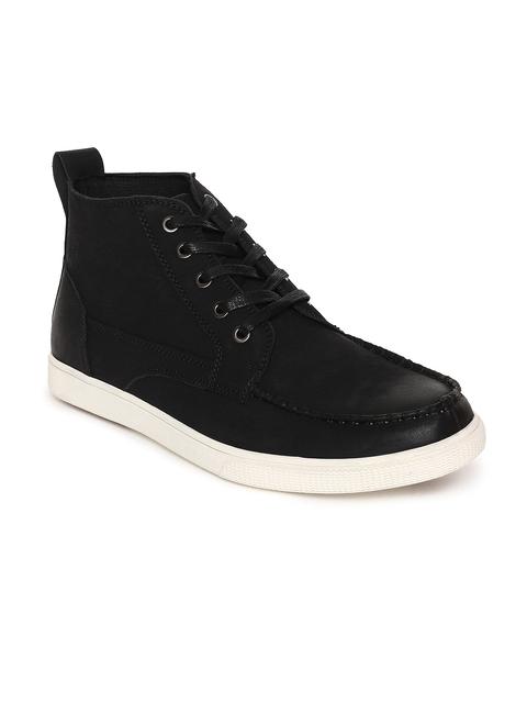U.S. Polo Assn. Men Black Solid Mid-Top Flat Boots