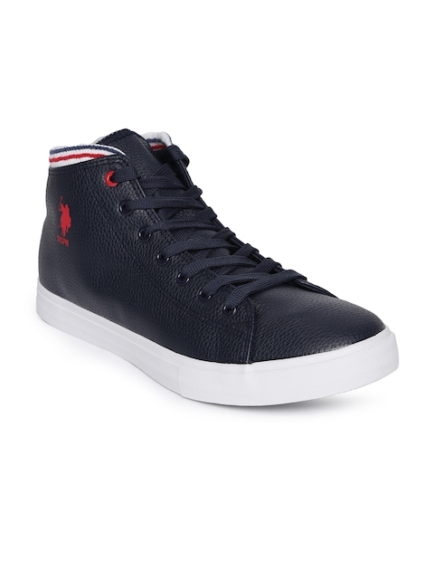 U.S. Polo Assn. Men Navy Blue Solid Mid-Top Flat Boots