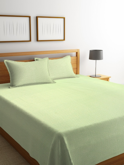 NEUDIS Green Abstract Handwoven 250 TC Double King Bed Cover with 2 Pillow Covers