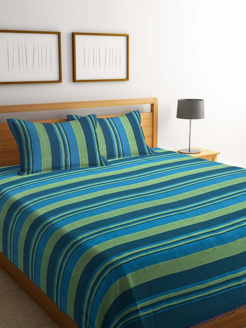 NEUDIS Blue & Green Striped 250 TC Double King Bed Cover with 2 Pillow Covers