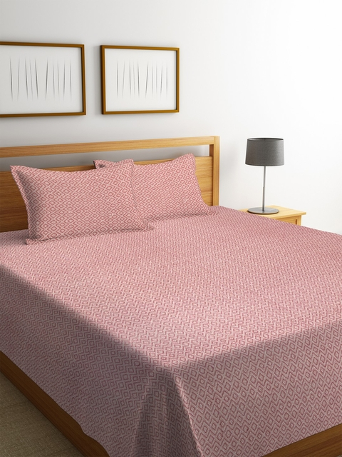 NEUDIS Red Geometric Handwoven 250 TC Double King Bed Cover with 2 Pillow Covers