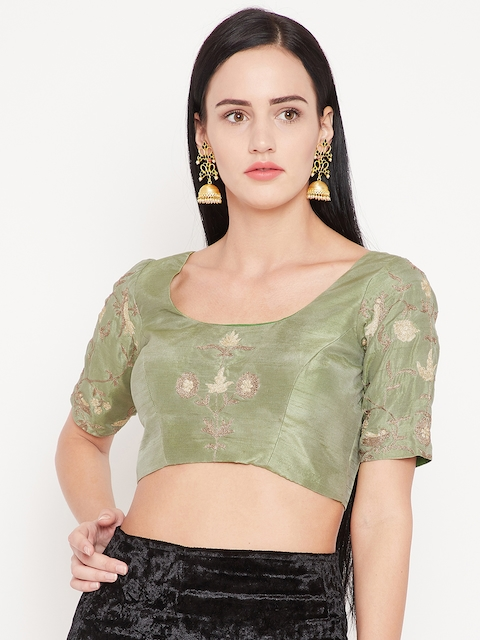 530aa134fc5 KAANCHIE NANGGIA Green Embroidered Saree Blouse