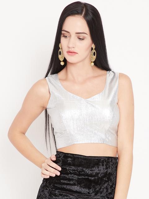 KAANCHIE NANGGIA Silver Solid Saree Blouse