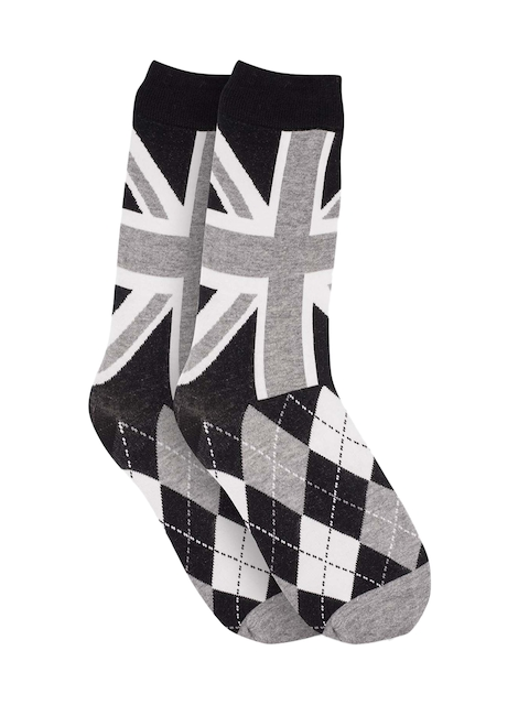 The Tie Hub Men Black & Grey Patterned Above Ankle-Length Socks
