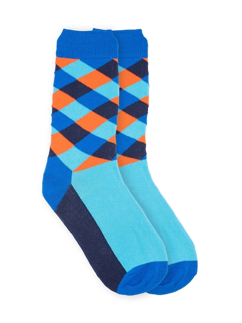 The Tie Hub Men Blue Patterned Above Ankle-Length Socks