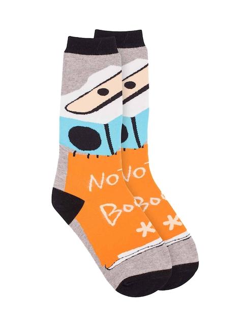 The Tie Hub Men Orange & Grey Patterned Above Ankle-Length Socks