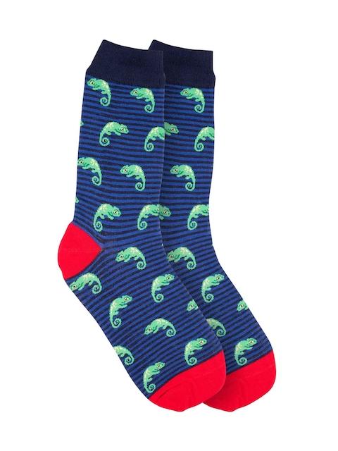 The Tie Hub Men Blue & Green Patterned Above Ankle-Length Socks