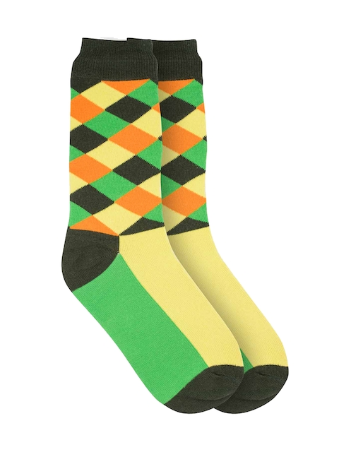 The Tie Hub Men Green Patterned Above Ankle-Length Socks