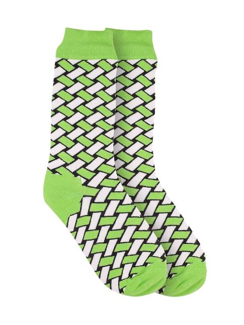 The Tie Hub Men Green & White Patterned Above Ankle-Length Socks