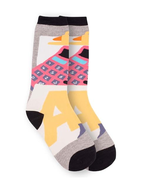 The Tie Hub Men Grey & Multi-colored Self-Design Above Ankle-Length Socks