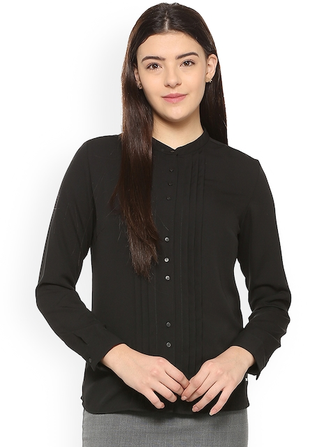 Van Heusen Women Black Regular Fit Solid Semiformal Shirt