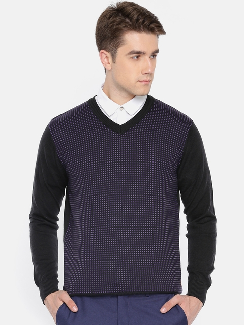 Raymond Men Black & Purple Self Design Pullover
