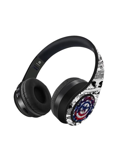Kook N Keech White & Grey Captain America Print Wireless Headphones