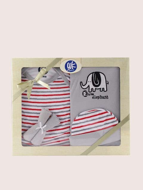 YK Grey & White 5 Pcs Baby Gift Set