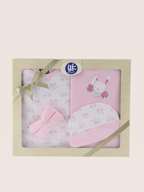 YK Kids White & Pink Printed 5 Pcs Baby Gift Set