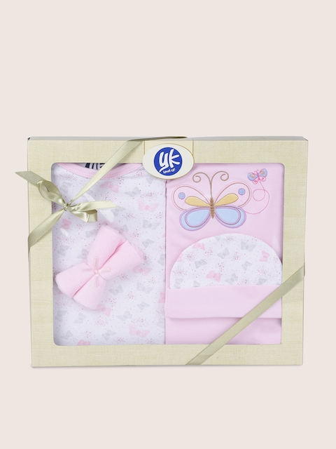 YK Kids Pink Printed 5 Pcs Baby Gift Set
