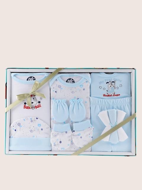 YK Blue & White Printed 10 Pcs Baby Gift Set