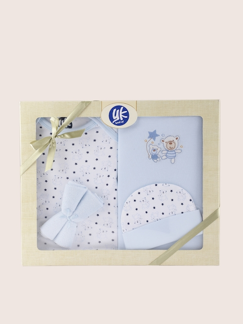 YK Blue Printed 5 Pcs Baby Gift Set