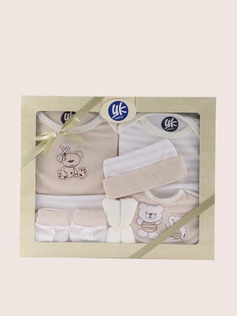 YK White & Beige 8 Pcs Baby Gift Set