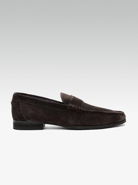 Carlton London Men Coffee Brown Suede Leather Semiformal Slip-Ons