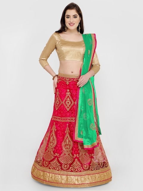 MANVAA Pink & Gold-Toned Embroidered Semi-Stitched Lehenga & Unstitched Blouse with Dupatta