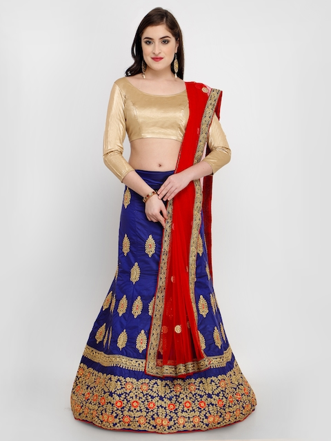 MANVAA Navy Blue & Beige Embroidered Semi-Stitched Lehenga & Unstitched Blouse with Dupatta