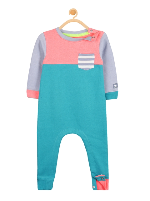 Cherry Crumble Blue & Pink Colourblocked Rompers