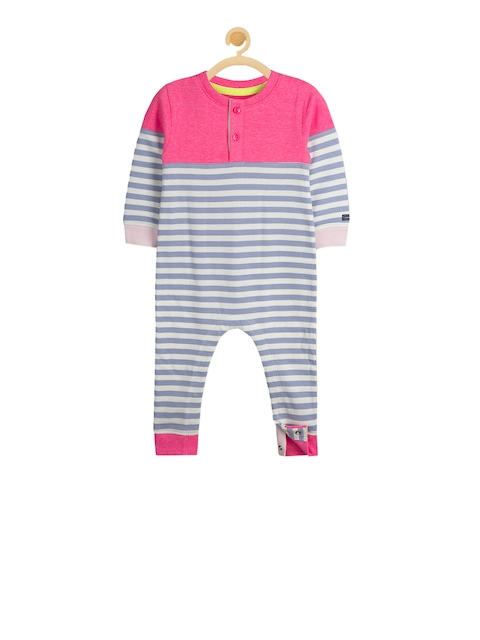Cherry Crumble Grey & Pink Striped Rompers