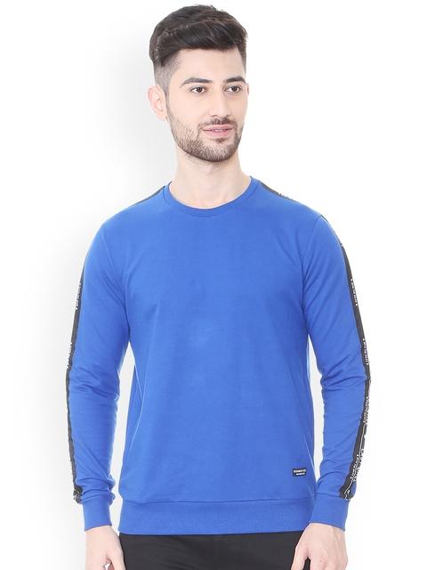 People Men Blue Striped Sweatshirt