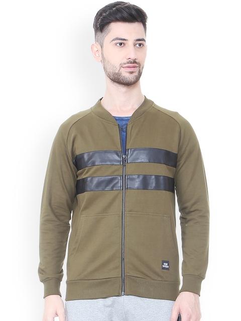 People Men Olive Green Striped Sweatshirt