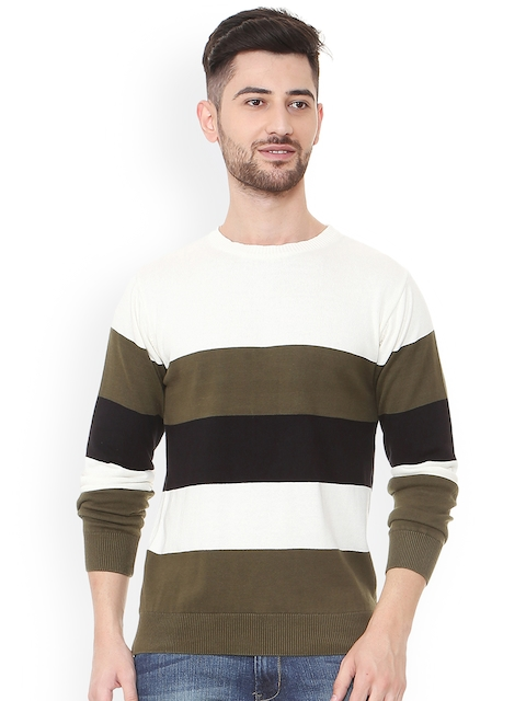 People Men Green & White Colourblocked Pullover