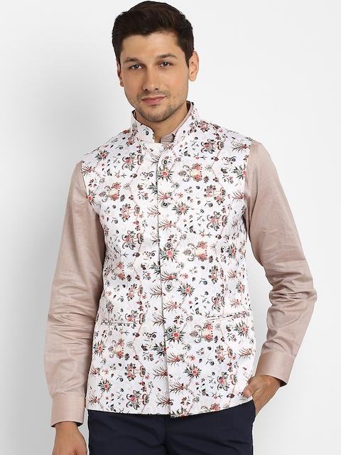 Routeen Men White & Multicoloured Printed Nehru Jacket