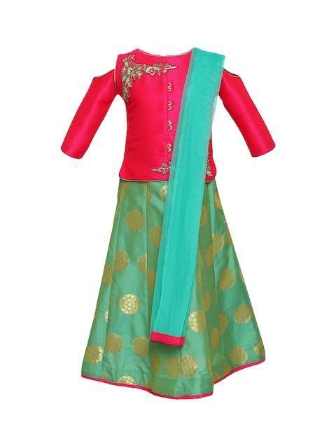 Aarika Girls Pink & Blue Embellished Ready to Wear Lehenga & Blouse with Dupatta