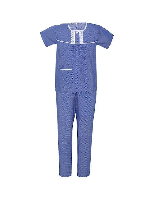 Punkster Girls Blue Printed Night suit 13156B