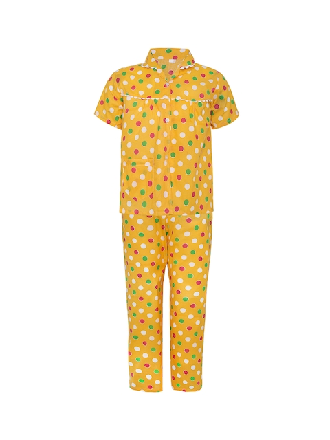 Punkster Girls Yellow Printed Night suit 13157A