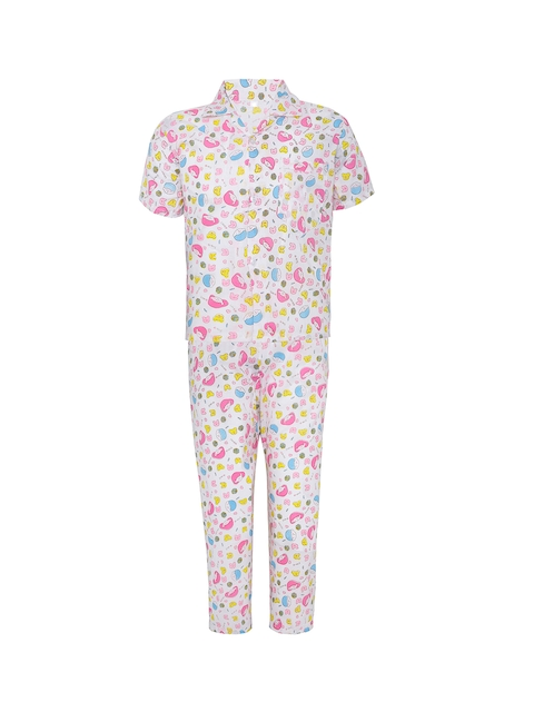 Punkster Boys Pink & White Printed Night suit 6561A