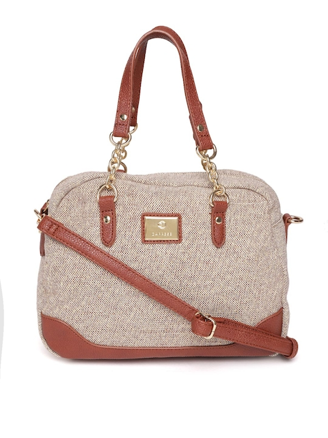 Caprese Beige & Brown Solid Handheld Bag