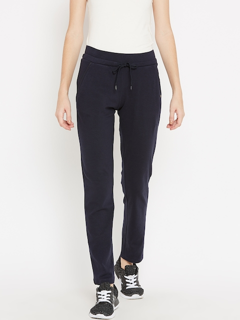 Madame Women Navy Blue Solid Track Pants