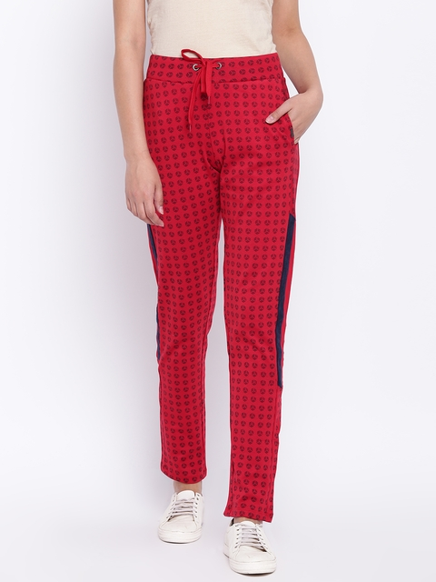Madame Women Red & Navy Blue Printed Track Pants