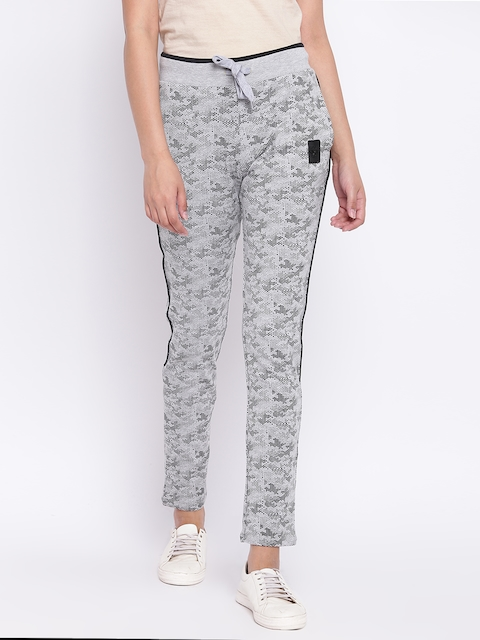 Madame Women Grey Melange & Black Printed Track Pants