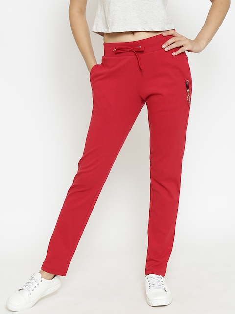 Madame Red Solid Track Pants