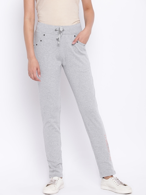 Madame Women Grey Melange Solid Track Pants