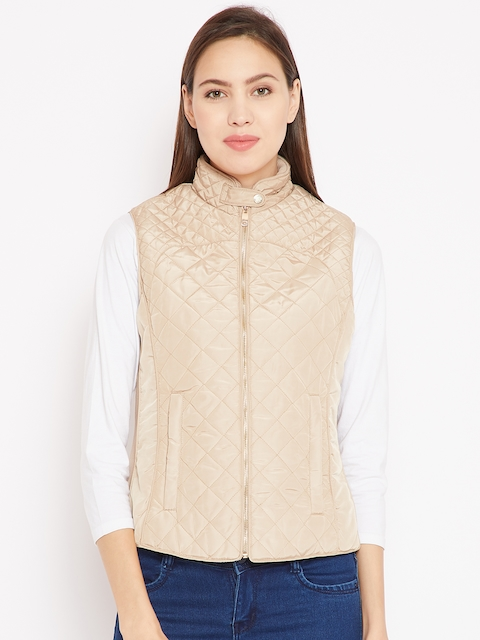 Madame Women Beige Solid Quilted Jacket