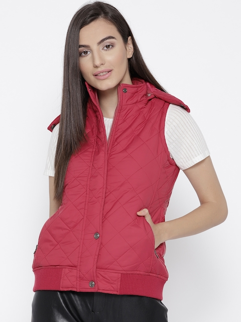 Trufit Women Magenta Solid Insulator Quilted Jacket with Detachable Hood
