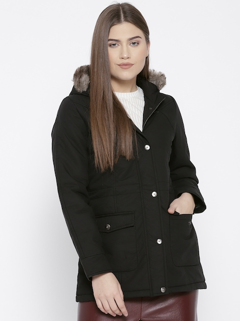 Trufit Women Black Solid Hooded Parka Jacket